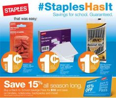 It's back to school time already!?  Staples School Supplies 7-7