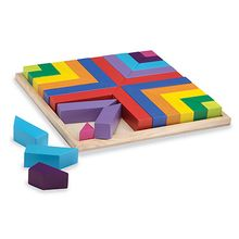 """Our+versatile+Pattern+Play+blocks+are+a+great+introduction+to+math+concepts+like+sorting,+matching,+symmetry,+congruence+and+fractions.+This+high-quality+set+fits+just-so+into+its+wood+tray,+with+vibrant+colors+and+unusual+shapes+that+build+spatial+skills.+Includes+40+exceptionally+well-finished+wood+blocks,+a+10.5""""-square+wood+building+tray,+40+Pattern+Cards+and+a+drawstring+canvas+storage+bag."""