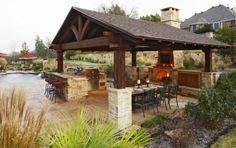 bar built on corner of grill area...