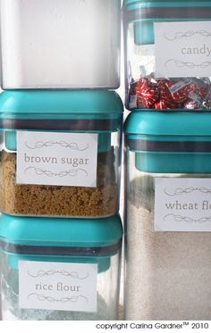 Free printable pantry labels via Carina Gardner