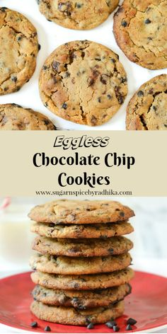 Eggless Chocolate Chip Cookies- The best eggless Chocolate Chip cookie recipe that you will love till the last bite, soft and chewy in the centre and crispy on the edge.