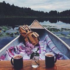 adventur, dream, boats, canoe date, breakfast for two, morning coffee, beauti, beauty, picnic
