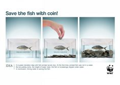 Save the fish with coins. An advert entered for the Chipshop Awards 2013.    A clear metaphor demonstrating how donations can help.    #fish #nonprofit #coins #donation #fundraising #giving