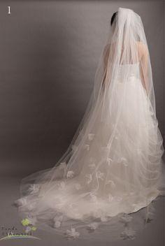 veil/wedding gown/custom made/long/handmade/5 by pandaandshamrock, $60.00