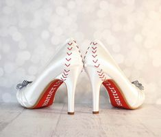 Wedding Shoes -- Baseball Themed Wedding Shoes with Pinstripe Bow on the Toe on Etsy, $287.00