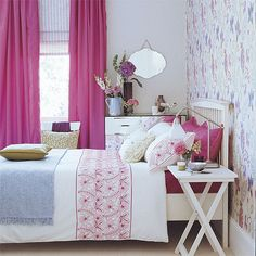 interior design, curtains, dorm room, decorating ideas, bedroom colors, pink bedrooms, bedroom designs, accent walls, girl rooms