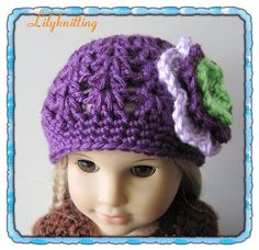 cute crochet hat for american girl doll (pattern to buy @ etsy)