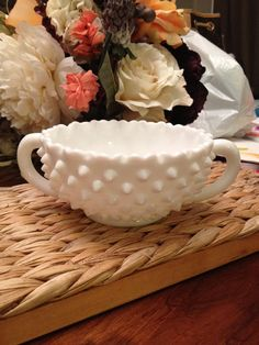 Vintage Fenton Hobnail Milkglass Doublehandled Dish by Fauxlowers, $20.00