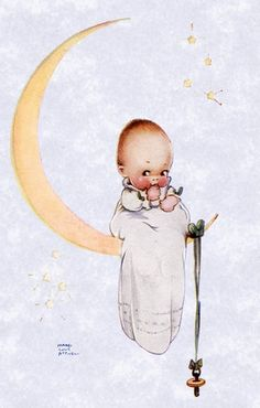Baby on a crescent moon. Cute.