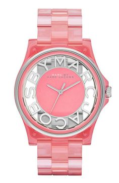 Love the see-through dial on this pink Marc Jacobs watch!