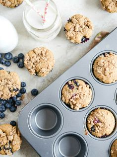 Whole Wheat Blueberry Yogurt Crumb Muffins | howsweeteats.com