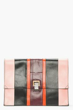 PROENZA SCHOULER Pink Striped Leather Lunch Bag Clutch