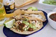Fish tacos with avocado cabbage slaw