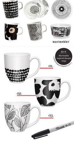 DIY Marimekko Inspired Mugs