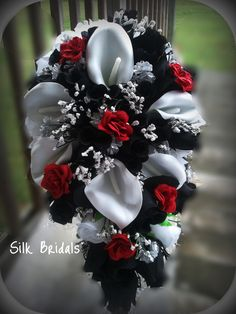 black and white and red  wedding ideas   Bridal Bouquet Silk Wedding Flowers BLACK Red White Silver CALLA Roses ...