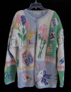 Vtg 1990s 1994 Hand Knit Easter Bunny Egg Tree Theme Sweater L | eBay $55