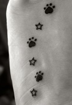 Tattoo I had done on the 1st year anniversary of my first golden's passing. I have a paw print for each of my 3 goldens and, a star to represent the ones I have picked out in the Big Dipper for each of them. The upside down heart of the paw prints is to represent the love we share. I also had the tattoo done on my left foot for just as in life, even when gone, my dogs will always continue to walk alongside me. <3