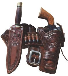 this rich looking rig features border stamping, spotwork, nickel buckle and full lining. Can be made for most single action revolvers and hunting knives