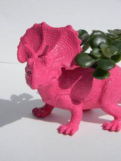 Dinosaur Planter Bright Pink Succulent Planter Triceratop