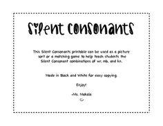 Silent Consonant word work.
