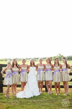 bridesmaids in gold and purple