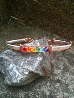 Rainbow Gay Lesbian Crystal Pride Bangle