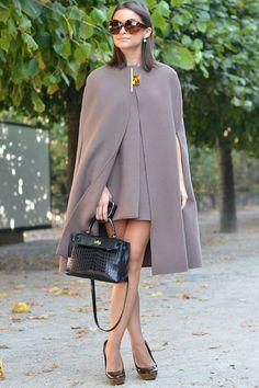 paris fashion, hermes bags, cape, street styles, parisian style, miroslava duma, office outfits, mira duma, hermes handbags