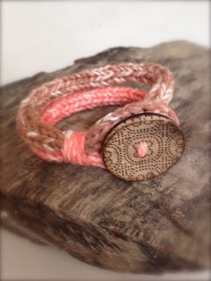 French Knitted Loop Bracelet with Coconut Button