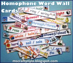 Illustrated homophone word wall cards for #ela and #vocabulary. $ #literacy