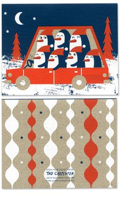 Tad Carpenter screen printed cards, 4 for