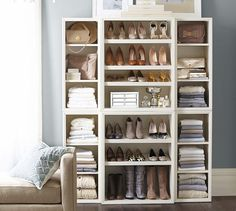 Sutton Closet Wall Set via Pottery Barn #shoestorage #closet #shelves #organization