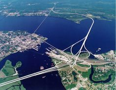 The bridges reach skyward; it is not   unusual to see gulls flying by the   cars--fabulous feeling! (New Bern)