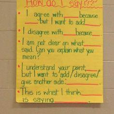 Sentence starters for Socratic seminar
