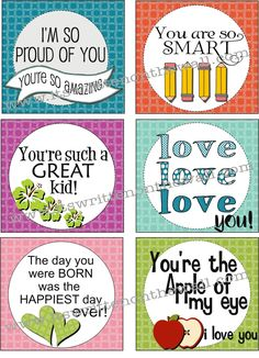 It's Written on the Wall: (Freebie) New Lunchbox Notes for Back To School