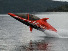 can go 50 mph on the water as a boat, can also fly at 18 feet in the air and can dive under water and be a submarine. pretty sick.