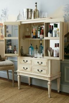 Zelda Bar Cabinet - Antique Bar Cabinet, Glassware Cabinet, Linen Cabinet | Soft Surroundings
