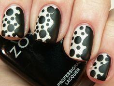 nail tips, matte nails, white design, polka dots, nail designs, nail art designs, nail arts, black white, black nails