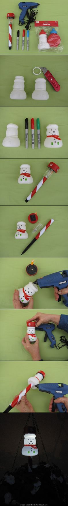 Snowman Solar Stakes Lights. Make your own solar stake lights using finds from the dollar store.