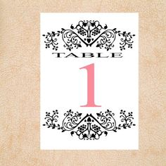 10 Damask Wedding Reception Table Numbers Any by 1MemorableDesigns, $19.00