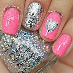 Cute Pink and Sparkley heart nails, nail polish, valentine day, pink nails, nail designs, pink ribbons, nail arts, glitter nails, nail ideas
