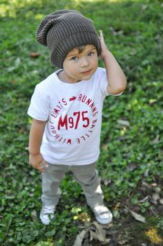 cute little boy in a beanie. my kids are gonna wear these cute of clothes(: