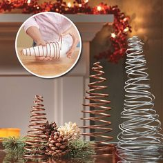 Centerpiece needs only 2 materials! Use copper or steel wire and wrap it around a foam cone to get whimsical Christmas trees. Add in some holly or pinecones to set the scene.
