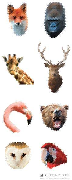 Sliced Pixel Animals by Victor Van Gaasbeek