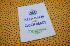 Mardi Gras embroidery design on linen tea towel by daniellesdavis, $12.00