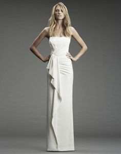 NICOLE MILLER | WEDDING LOOKBOOK | HERITAGE FA0027 STRAPLESS STRETCH SILK GOWN WITH FRONT RUFFLE