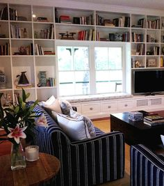 Navy with white stripe couches