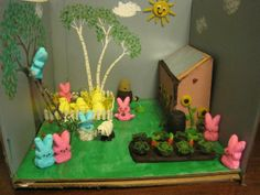 "2nd place: Kristin Blackwell, staff, chemistry department --, ""Little Blue Peep's Sustainable Farm""  University of New Hampshire, Health Services (2013 Peeps Show)"