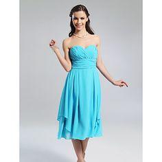 A-line Sweetheart Knee-length Chiffon Bridesmaid Dress With Criss-Cross Bodice – USD $ 97.99 -- color watermelon
