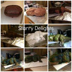 3d dinosaur cake, tutorials, cake tutorial, cakes, sculpt cake