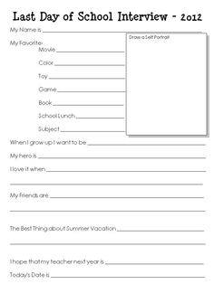 """Last Day of School Interview for kids from """"I'm Telling..."""": Pinterest has Made Me a Crazy Person..."""